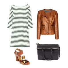 Outfit #14: Your striped dress doesnt always have to play the preppy part — just throw on a leather jacket and add an unexpected pop of color (here its a metallic gold) to give this nautical print a different style direction.  Get the look:     J.Crew Striped Silk Shift Dress ($290)   Mango Leather Jacket ($340)   Zara Soft Shopper With Zips ($159)   Sam Edelman Yelena Sandals ($70)