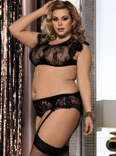 9da57f77183 Black Sexy See-through Lace Plus Size Lingerie Bra Set with Garters Belt  Panty