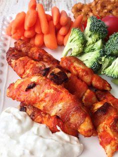 Buffalo Glazed Chicken & Bacon Bites — The Skinny Fork