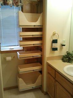 Hallway Storage, Small Bathroom Storage, Bathroom Closet, Bathroom Toilets, Bathroom Cabinet Storage, Remodel Bathroom, Small Bathrooms, Bathroom Shelves, Master Bathroom