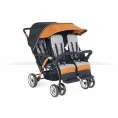 Foundations Baby Infant Carrier Quad Sport 4-Passenger Stroller Orange - 4141309