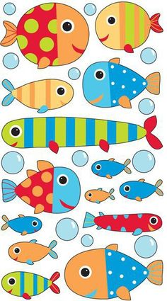 Baby Fish Stickers - EK Success - Sticko Stickers - Classic Stickers stickers for labels Sea Crafts, Fish Crafts, Diy And Crafts, Crafts For Kids, Arts And Crafts, Paper Crafts, Baby Fish, Ocean Themes, Fish Art