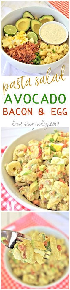 Avocado Egg and Bacon Pasta Salad Side Dish Recipe via Dreaming in DIY - This is the perfect easy and delicious pasta salad side dish. Bring it to 4th of July holiday celebrations, summer cookouts, fall tailgating lunch spreads, potlucks and backyard dinner parties! It tastes amazing immediately and even better after a few hours in the fridge!