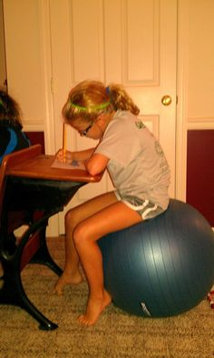 This really does work --  It does wonders!  Fidgety Kids-having kids sit on an exercise ball improves their attention and focus. From Therapy Fun 4 Kids.