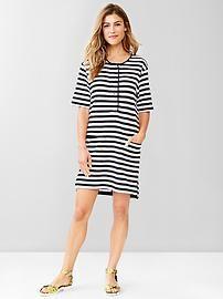 Stripe henley shirttail dress