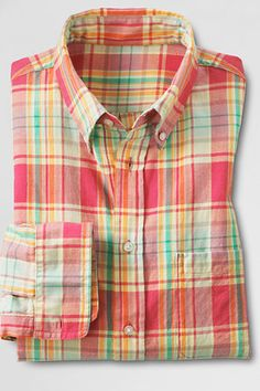 Men's Long Sleeve Washed Red Limonata Plaid Madras Shirt from Lands' End