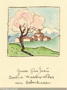 "Hermann Hesse's watercolor painting ""Peach Tree"" | http://www.artvalue.com/auctionresult--hesse-hermann-1877-1962-german-sommer-1933-2407053.htm"