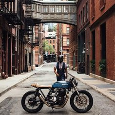 The Suited Racer on a Honda CB750 IN Tribeca NYC