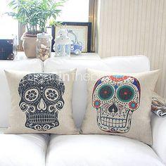 Set of 2 Stylish Design Cotton/Linen Decorative Pillow Cover
