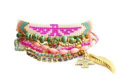 SS14 Thunderbird Native Swarovski Bracelet,Beadwork,Beadweaving,Feather Charm,Bohemian Indian Boho Chic Multiple rows Friendship Bracelet