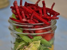 Beet & Snap Pea Jar http://www.prevention.com/food/healthy-recipes/10-amazing-mason-jar-recipes/slide/3