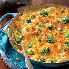 Cheesy Broccoli-and-Rice Casserole | The old-school version of this recipe uses canned soup and frozen broccoli. Our contributing editor Virginia Willis revamped the recipe with fresh, wholesome ingredients.