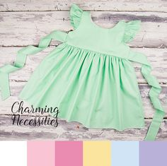 Flutter Sleeve Pinafore Dress - Baby Toddler Girl Easter Dress, Spring Dress, Party Dress, 7 Colors Available - Charming Necessities