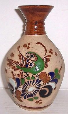 Large Tonala Mexico Native Bird Latino Pottery Vase Signed Vicman Mexico