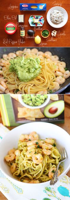 (USE GF Pasta) Shrimp & Avocado Pasta. Easy and delicious! - Avocado, lemon, garlic, and freshly cracked pepper. Seafood Dishes, Pasta Dishes, Seafood Recipes, Pasta Recipes, Dinner Recipes, Cooking Recipes, I Love Food, Good Food, Yummy Food