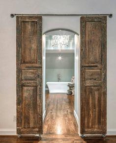 Ideas Closet Door Ideas Diy Master Bathrooms For 2019 Wooden Barn Doors, Old Barn Doors, Diy Sliding Barn Door, Double Barn Doors, Diy Barn Door, Barn Door Hardware, Sliding Doors, Sliding Door Closet, Reclaimed Doors