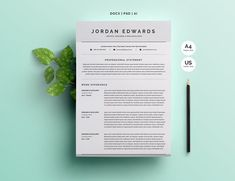 Clean Word Resume Template 4 Pages  @creativework247