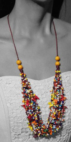 Fabulous multicolor necklace is a classic fashion inspiration. Make it a matching with any fashionable piece. Classic Fashion, Classic Style, Exotic, Crochet Necklace, Fashion Inspiration, How To Make, How To Wear, Jewelry, Look