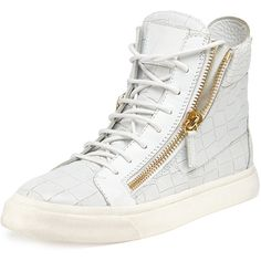 Giuseppe Zanotti Crocodile-Print High-Top Sneaker ($735) ❤ liked on Polyvore featuring shoes, sneakers, bianco, white shoes, giuseppe zanotti sneakers, crocs shoes, white hi top sneakers and hi tops