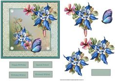 Fleurs de flower card with decoupage on Craftsuprint designed by Angela Wake - Fleurs de flower card with decoupage and sentiment tags - Now available for download!