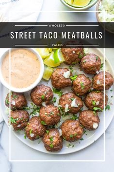 Street Taco Meatballs - a riff on the traditional Mexican street tacos. These are quick and easy to make but pack a lot of flavor. Street Taco Meatballs (Paleo, Keto, - Street Taco Meatballs (Paleo, Keto, - a dash of dolly Home Recipes, Beef Recipes, Healthy Recipes, Paleo Food, Budget Recipes, Paleo Meals, Frugal Meals, Paleo Kids, Paleo Bread