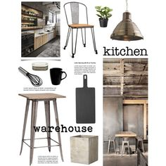 Warehouse Kitchen by barngirl on Polyvore featuring polyvore, interior, interiors, interior design, home, home decor, interior decorating, Zuo Modern, Arteriors, Dot & Bo, Unison, 10 Strawberry Street, Sur La Table, kitchen and modern