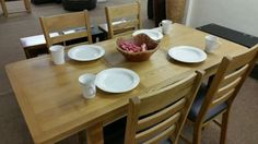 Barcelona Solid Oak Dinning Table + 4 chairs