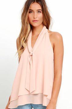 Handle My Business Nude Sleeveless Top at Lulus.com!