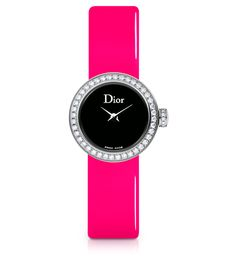 La Mini D de Dior, 19mm, quartz movement, steel case, bezel, crown and buckle set with diamonds, black mother-of-pearl dial, sapphire crystal glass, fluorescent pink patent leather strap and extra strap in black patent calfskin. Discover more on www.dior.com