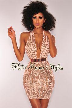 26493cebdb Rose Gold Sequins Nude Mesh Halter Open Back Dress