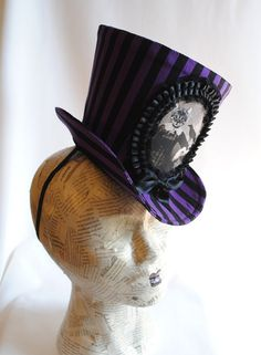 Gothic Top Hat Purple and Black Stripes by RagDolliesMadhouse Mad Hatter, Jeannette Walls, Gothic Tops, Steampunk Hat, Colorful Succulents, Head Pieces, Top Hats, All Things Purple, Fascinators