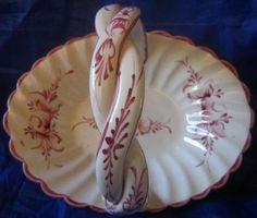 Sweet Lavender White Twisted Handle Ceramic Basket Edge www.DecorativeDishes.net