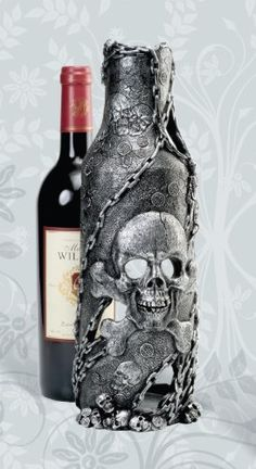 Pirate Skull Bottle Holder-nautical bar items . $29.99