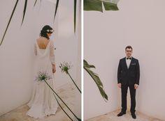 Merce y su marido el día de su boda. La novia vestida de Cortana.