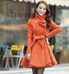 Orange Woolen Winter Coat