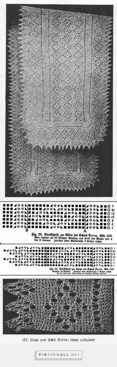 """""""Schal Berta"""" from an antique lace knitting book by Marie Niedner"""