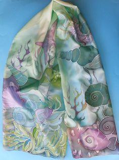 Hand painted Womens silk scarf - UNDERWATER - sea blue and purple colors FREE SHIPPING  This is beautiful hand painted natural silk scarf. Price is for 63 in x 17.7 in long scarf.