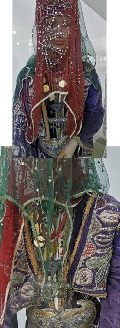 Close-ups of a traditional bridal costume from the Karakeçeli (Yörük) villages of the Keles district (south of Bursa).  Late-Ottoman urban style, ca. mid-20th century.  On exhibit in the Bursa Etnografya Müzesi.  © (both pictures) Dick Osseman.