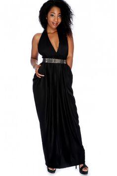 d8ce6f1587 Sexy Black Sleeveless Pin Closure High Polish Belt Accent Maxi Party Dress