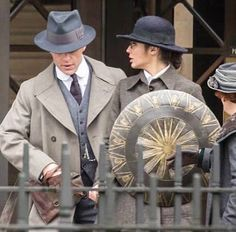 Gal Gadot and Chris Pine as Diana Prince and Steve Trevor on the set of Wonder Woman film