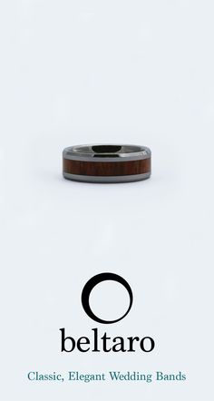 Polished silver tungsten carbide wedding band with Koa wood inlay by Beltaro.
