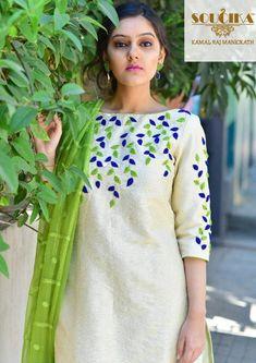 hand embroidery designs for salwar kameez neck Embroidery On Kurtis, Hand Embroidery Dress, Kurti Embroidery Design, Embroidery Neck Designs, Embroidery Suits, Embroidered Clothes, Embroidery Ideas, Churidar Designs, Kurta Designs Women