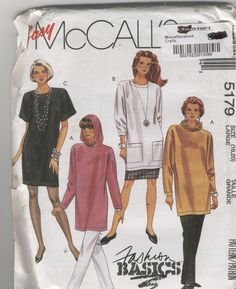 McCalls Sewing Pattern 5179 Dress Or Tunic, Skirt And Pants Size 18-20 Uncut #McCalls