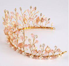 Bead Jewellery, Hair Jewelry, Wedding Jewelry, Rhinestone Headband, Pearl Headband, Gold Hair Accessories, Wedding Accessories, Gold Headpiece, Tiaras And Crowns