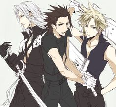 Final Fantasy VII Sephiroth Zack and Cloud