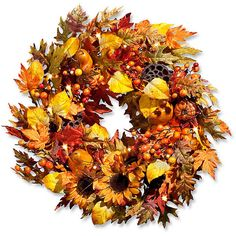 """Improvements Autumn Harvest Fall Wreath-26"""" ($70) ❤ liked on Polyvore featuring home, home decor, autumn, fall, artificial flowers, thanksgiving decorations, swag, harvest, hanging basket and garland"""