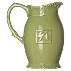"""64-ounce stoneware pitcher in oregano with an embossed motif.  Product: PitcherConstruction Material: StonewareColor: OreganoFeatures: 64 Ounce capacityDimensions: 9"""" H x 8"""" W x 5.5"""" D"""