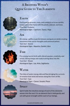 This beginner witch's quick guide to the elements takes a brief look at each of the elements and the energy they carry in magickal workings. Click to read the full post 🌌