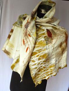 Terrie ~.~ smiling.....: Tuscany inspired eco printed wool shawl 植物印染羊毛被肩