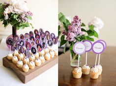 Cupcake toppers made from Facebook profile photos make creative place cards (The Sweetest Occasion)